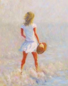 warm breeze girl in white sun hat