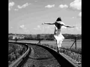 woman on rr tracks