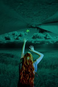 redhead reaching for the stars