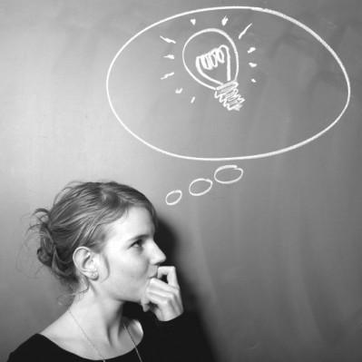 woman with light bulb idea