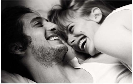 cute couple laughing together
